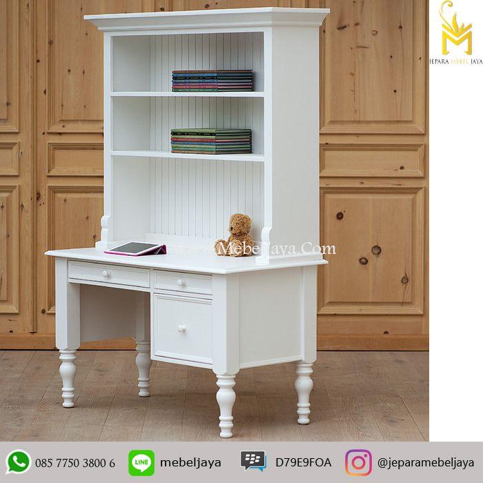 JUAL MEJA KERJA MURAH - meja kerja dengan desain mewah dan kompartemen rak serbaguna bagian atas dan laci untuk menaruh keperluan anda.