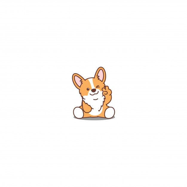 Cute Corgi Puppy Sitting And Winking Eye Cartoon Icon Puppy Cartoon Cute Drawings Cute Corgi Puppy