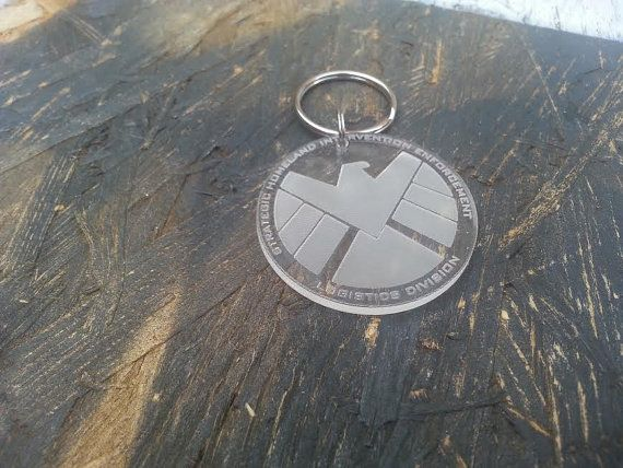 SHIELD S.H.I.E.L.D Keyring Marvel Agents of Shield, Captain America, Thor, Iron Man - Laser Cut - UK Made