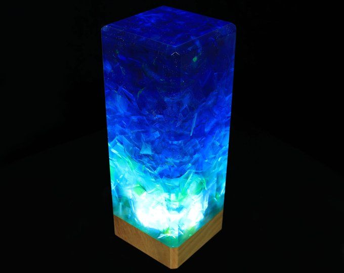 Resin and wood decor Ambient night light Resin table decor