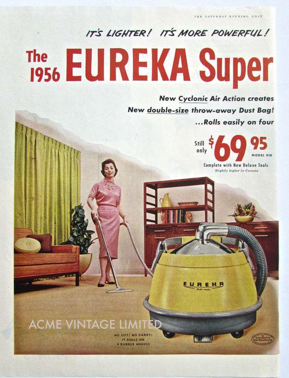 1956 Vintage Ad VACUUM CLEANER Original by ACMEVintageLimited, $7.75  #vintage #advertising #eureka #midcentury #vacuum
