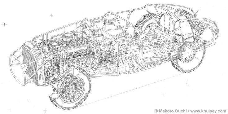 Line Art Information : Final ferrari mm line drawing by makoto ouchi cutaway