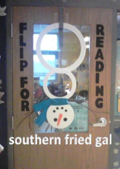 Winter Wonderland Classroom Door Decorations ~ Teacher door upside down snowman flip for reading