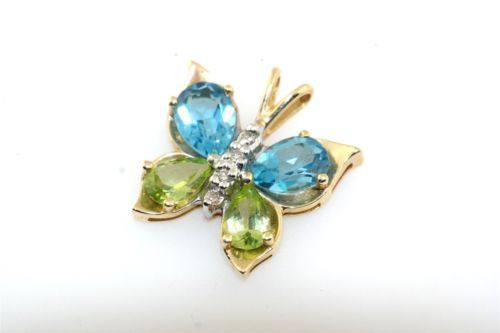 Blue-Topaz-Peridot-amp-Diamond-10k-Yellow-Gold-Butterfly-Pendant