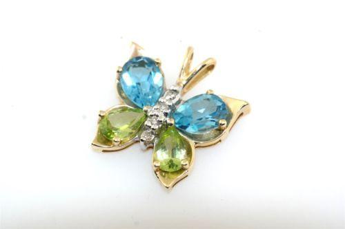 Blue-Topaz-Peridot-amp-Diamond-10k-Yellow-Gold-Butterfly-Pendant