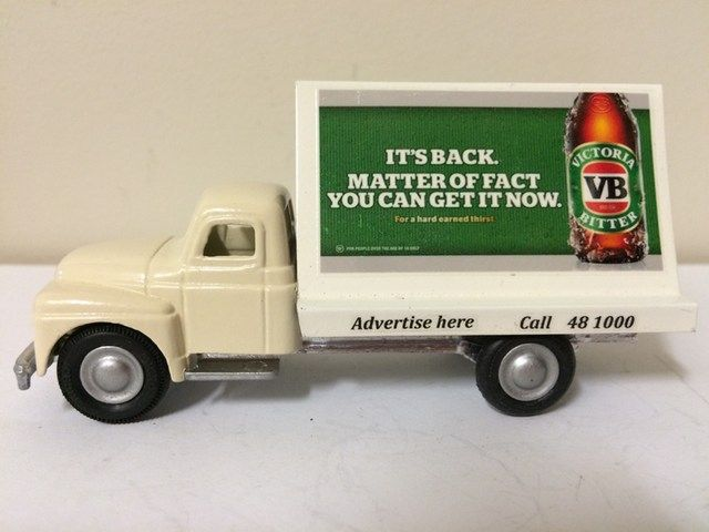 """Micro Models International Truck cab and chassis.  Billboard rear hand made and added.  Decals added.  Victoria Bitter """"VB"""" is a well known Australian beer manufacturer. www.diecastdesigns.net"""