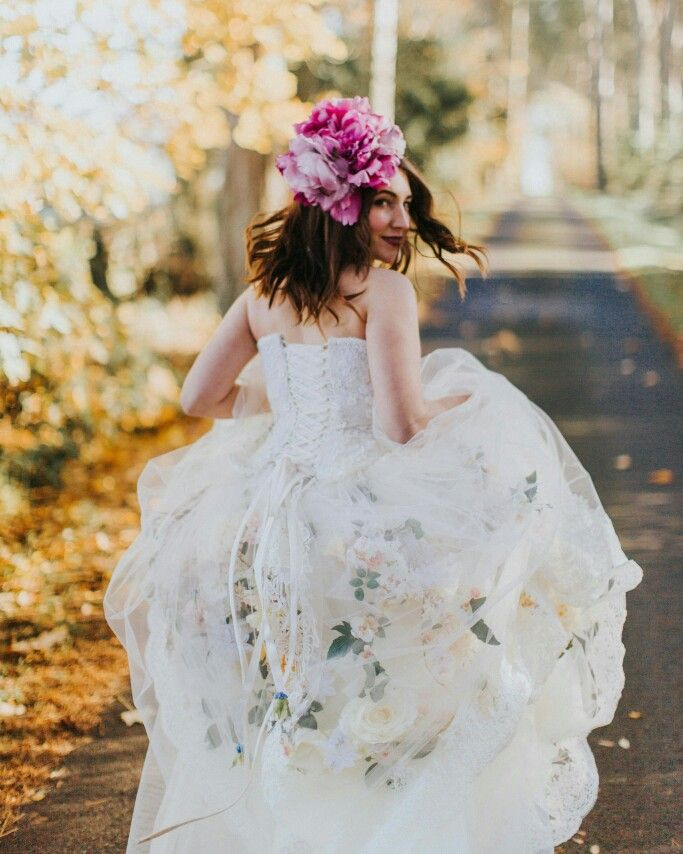 Garden gown and flower headdress