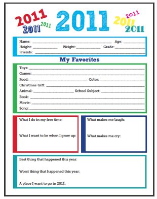 Free New Year's printable -- keep track of how kids change through the years.