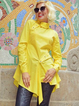 Yellow Solid Buttoned Statement Shirt Collar Blouse