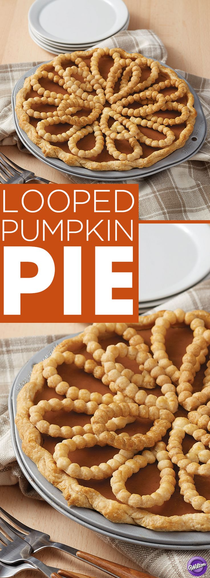 Looped Pumpkin Pie Recipe - There's nothing like baking a delicious pumpkin pie to welcome the fall season. Make this pumpkin pie recipe to serve at your autumn parties and gatherings. Use the Wilton Decorative Pie Crust Impression Mat to easily create fancy braid crust to decorate your pie.