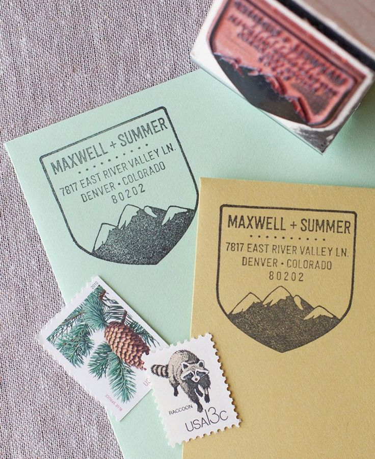 how to return address wedding envelopes%0A Inspired by wilderness patches  this address stamp features a snow capped  mountain range ready to