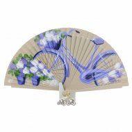 Abanico vintage flores y bicicleta morada