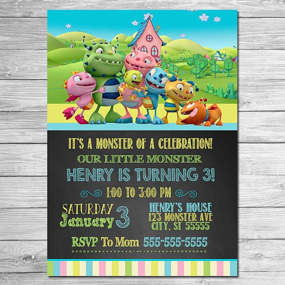 Henry Hugglemonster Invitation Chalkboard Blue by ItsACowsOpinion