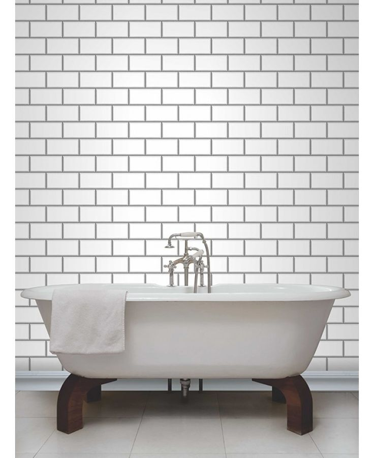 This striking Subway Tile Effect Wallpaper will make a great feature in any room including kitchens and bathrooms. The design is reminiscent of traditional white ceramic tiles found in the subway or underground and features shading for a 3D effect and metallic silver grouting