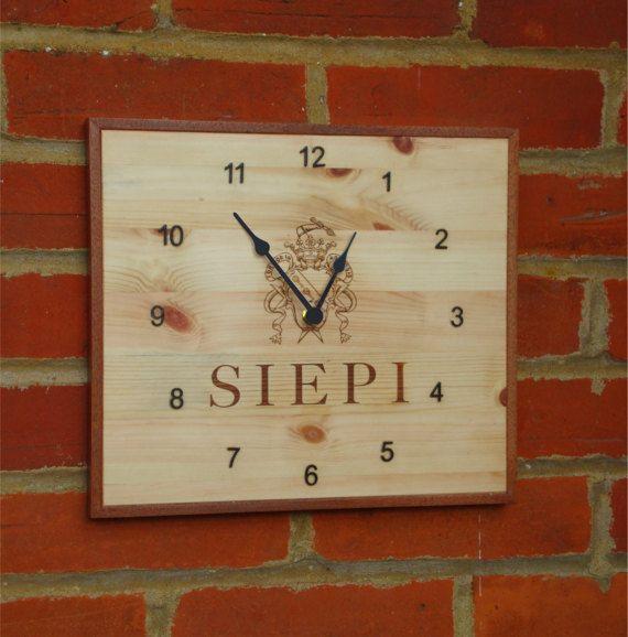 Unique handmade wine box wall clock, 32 x 28 cm recycled pine wood.