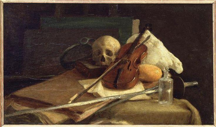 """""""Nature morte au violon"""" de Charles-Emile Cuisin (1832-1900). Paris, musée d'Orsay - Photo (C) RMN-Grand Palais (musée d'Orsay) / Hervé Lewandowski"""