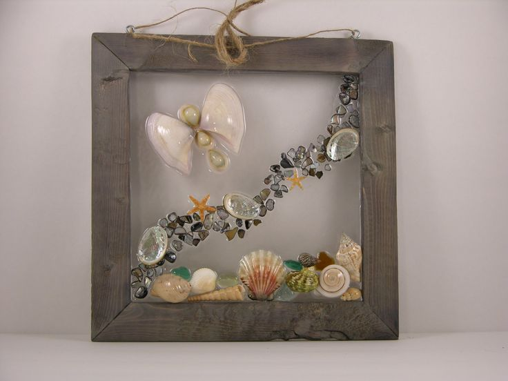 Butterfly at the Beach, beach glass art, sea shells,abalone, sea glass by SeasidesbyDesign on Etsy http://etsy.me/1gyX89u