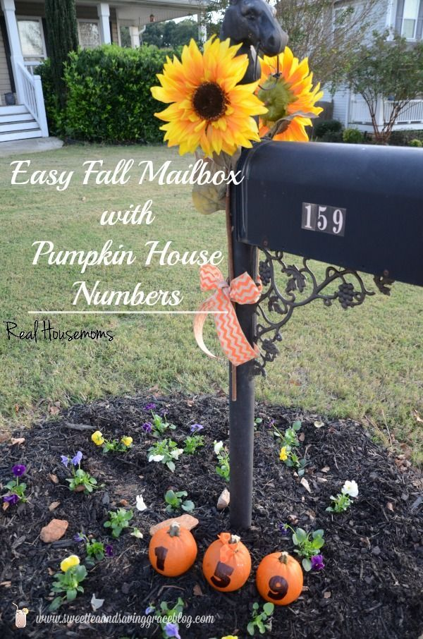 Fall Mailbox Decor with Pumpkin House Numbers  |  Real Housemoms