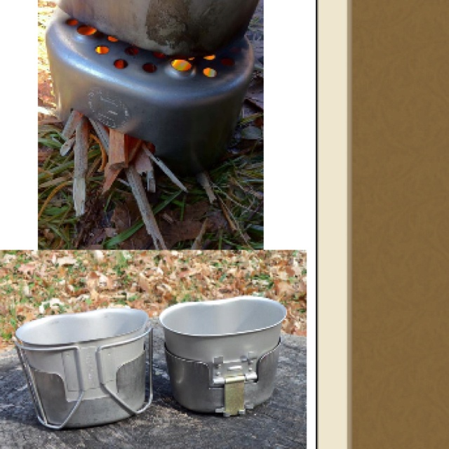 Army navy camping gear cups cooking rice into the woods cooking