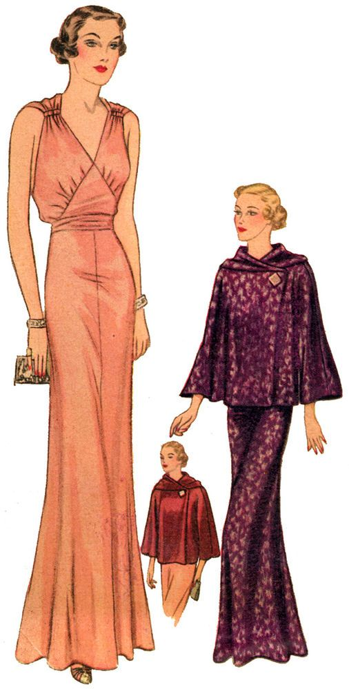 #T8119 - 1930s Evening Gown with Optional Jacket Sewing Pattern - Retro Glam