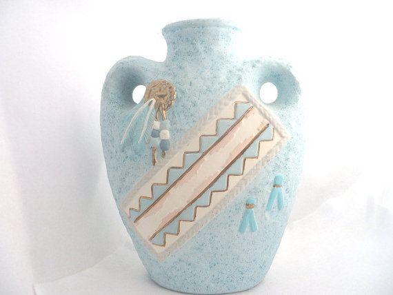 Southwestern Vase Turquoise Ceramic Vase by RitzyandGlitzy on Etsy