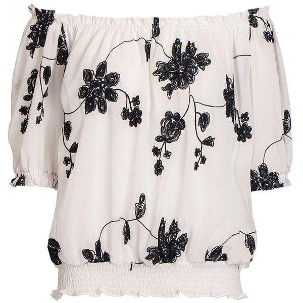 Dorothy Perkins **Quiz Floral Bardot Top ($35) ❤ liked on Polyvore featuring tops, cream, pink floral top, pink top, floral tops, cream top and dorothy perkins