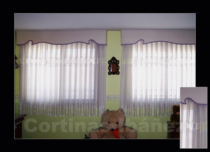 2 cortinas en visillo con guipur goteras acolchadas y con for Cortinas de visillo
