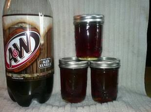 Root Beer Jelly......Trying this ... this week =o)  Ingredients 2 c root beer,soda 6 c sugar 1 c water 1 bottle liquid fruit pectin     Directions 1 Combine all ingrdients except pectin heat to boiling stirring to dissolve sugar.Add pectin stirring constantly.Bring to a boil and boil hard for 30 seconds skim ladle into hot jelly jars.Process 5 mins.water bath canner 2 Can use other flavors of soda.