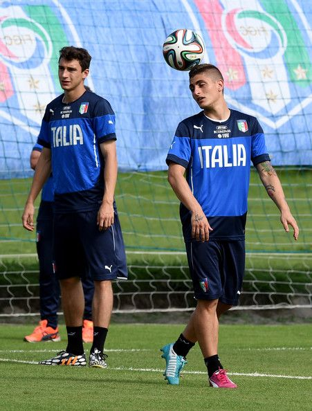 Marco Verratti of Italy (R) during a training session on June 18, 2014 in Rio de Janeiro, Brazil.