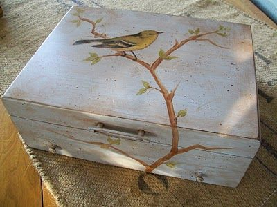 Bird Box ..Mod Podge Glue and graphics downloaded from Graphics Fairy