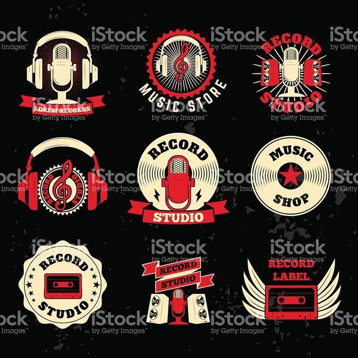 Étiquettes studio d'enregistrement. Vieux style d'un microphone, des écouteurs, cassette stock vecteur libres de droits libre de droits