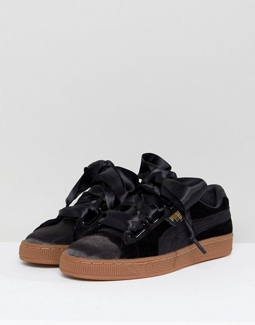 0b3bae0a070 Puma Basket Heart Trainers In Black Velvet