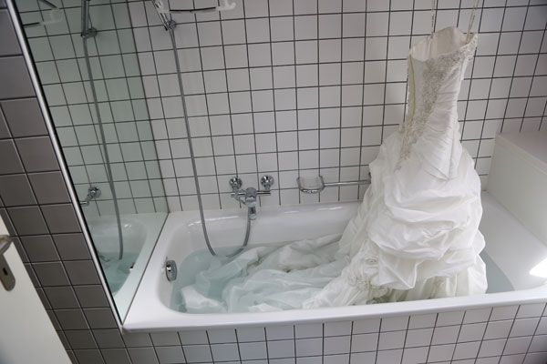 Found on Weddingbee.com:  Cleaning your wedding dress.  Pulled mine out and the train and a few other spots are dirty.  Gonna give this a whirl. This worked really well.