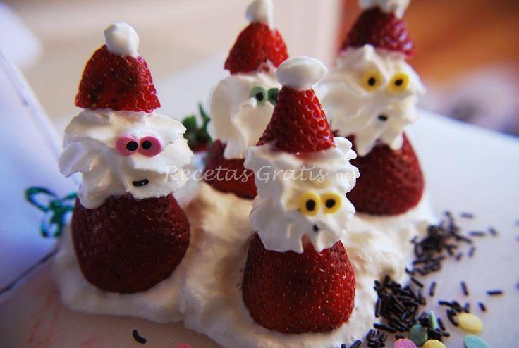 Receta de Fresas de navidad - Papá Noel