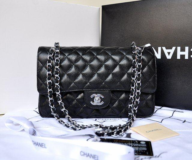 Chanel 1112 Lambskin Leather Shoulder Bag Black/Silver