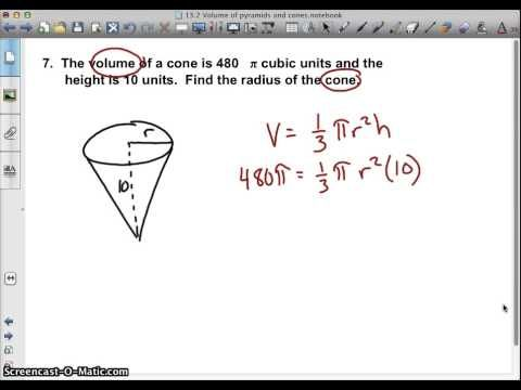 *Find Radius Given Cone Volume & Height - YouTube
