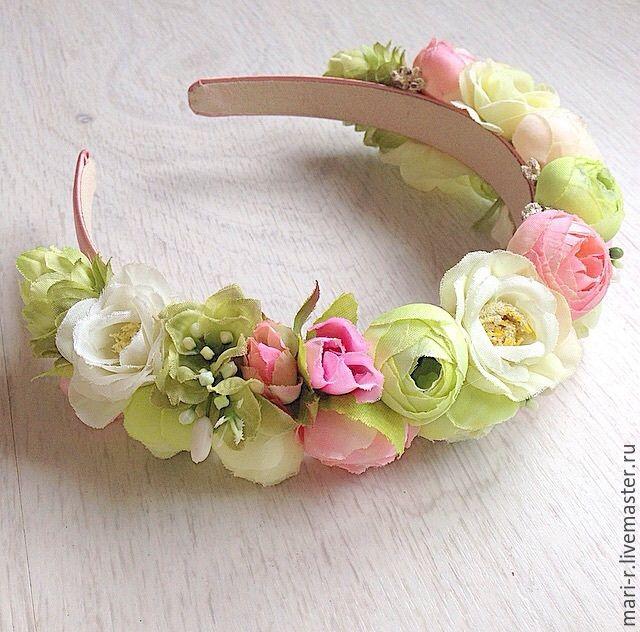 Купить Ободок с цветами зефирно-мятный - разноцветный, ободок, ободок для волос, ободок с цветами, цветы