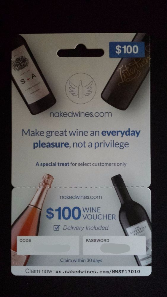 $100 Naked Wines Online Gift Card Wine Voucher Immediate Electronic Delivery #NakedWines
