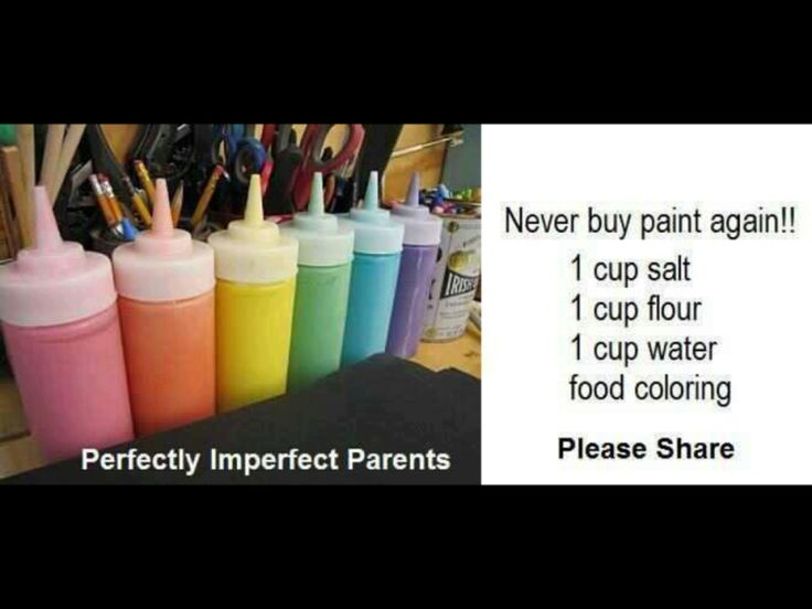 How to make homemade paint - 1 cup of salt, 1 cup of flour, 1 cup of water, and food coloring. Must try!