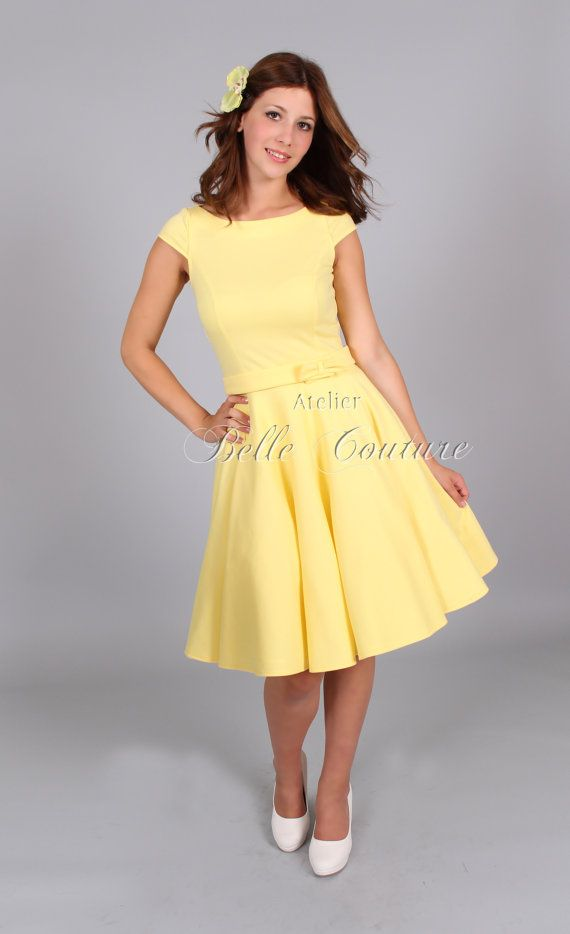 Jersey Kleid Klara pastell gelb kurze Ärmel von atelierbellecouture  Pastellkleider, Kleider