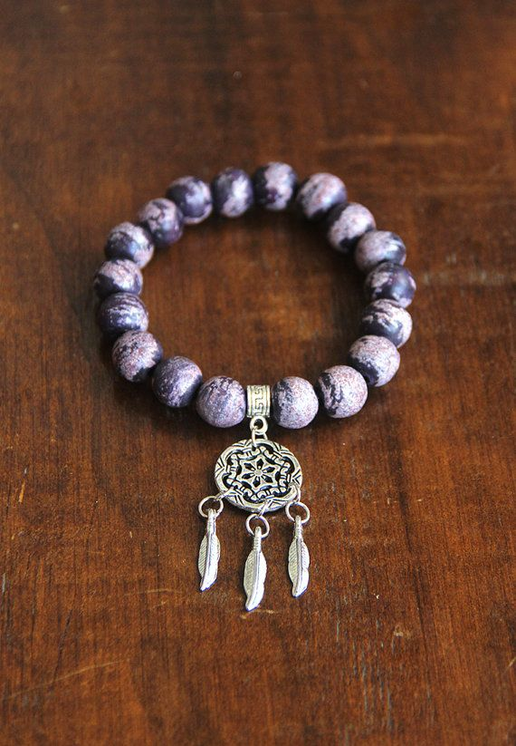 Purple Dream Catcher Bracelet-  Bohemian Bracelet, Yoga Bracelet, Dream Catcher Accessory
