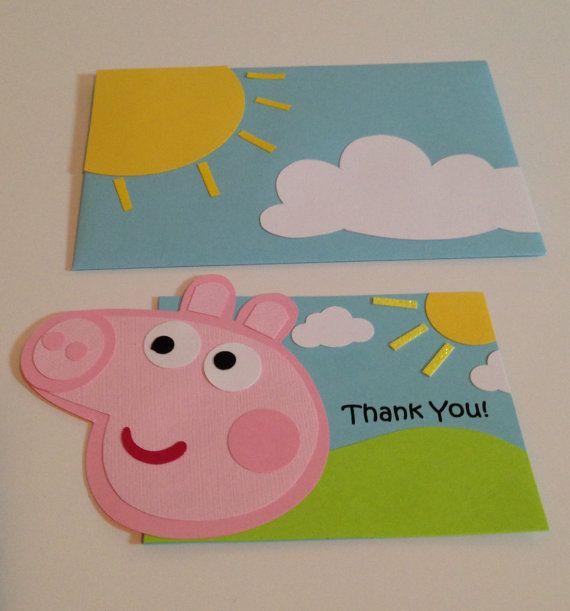 Peppa Pig @ Etsy listing at https://www.etsy.com/listing/171853874/handmade-peppa-pig-thank-you-cards