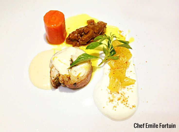 Tasty citrus chicken roulade, greek yogurt, compressed pineapple, toasted coconut, egg plant curry pickle, sous vide carrot, Parmesan sauce and curry oil!  #chefstalk #gourmet #foodstyle #foodart #recipes #designculinaire #plating