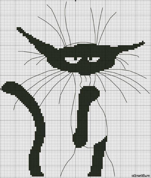 Схемы для вышивки крестом чёрно белые коты