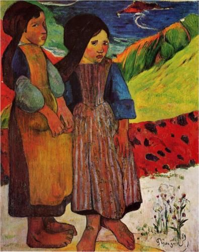 Breton Girls by the Sea by Paul Gauguin, 1889. Oil on canvas - I have a strong connection to Gauguin. I have lived in both Brittany and Tahiti. I've even been to his grave in Hiva Oa in the Marquises.