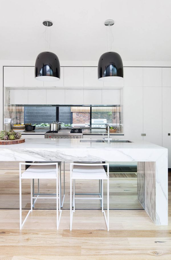 Kitchen Mirror Under Island Breakfast Bar White Handleless Cabinets Window As Splashback