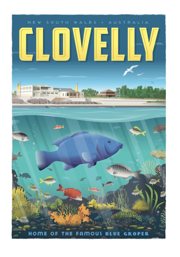 Coogee Beach Travel poster 70 x 100cm available from: info@russelltate.com #russelltate