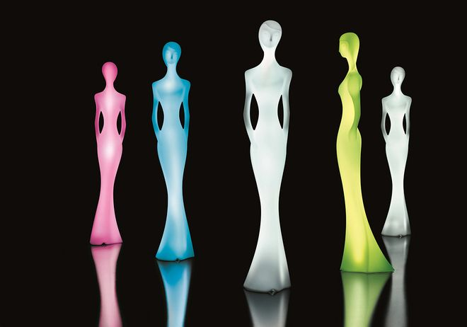 More than life-size - almost seven feet tall - they look fantastic standing in a line, or by themselves. And when the light is turned off, they look like art. That's because they use a material proprietary to the manufacturer, Mydesign, called Polyeasy - which also allows the light to be consistent across the full surface of the statue.