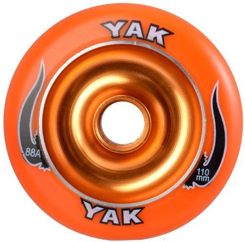 "YAK Scat II Metal Core Wheel Orange 110mm by yak. $18.43. The YAK Scat II Metal Core wheel is the ultimate in performance scooter wheels with a re-designed ""finned"" aluminum core to help keep the wheel from de-hubbing. The 110mm is designed for aftermarket forks because it is larger than the stock wheel. You must bend the rear brake to have it fit. * PLEASE MAKE SURE YOUR SCOOTER WILL FIT 110mm WHEEL BEFORE ORDERING!*  * ALL IMAGES AND DESCRIPTIONS ARE COPYRIGHTED..."