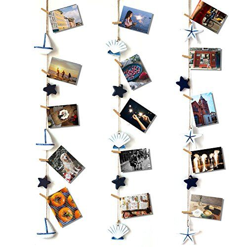 HAYATA Mediterranean Style Strap Home Decoration Nautical Vintage Decorative Multi Picture Frames Collage Photo Hanging Display Wall Decor Party Decoration